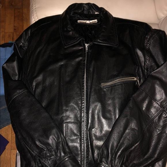 944d83dad Men's black leather Perry Ellis bomber jacket